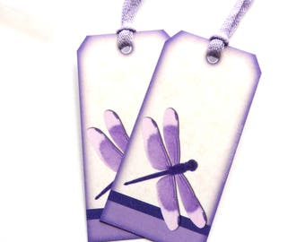 15 Gift Tags, Lavender Dragonfly, Hang Tags, Handmade Tags, Purple Merchandise Tags