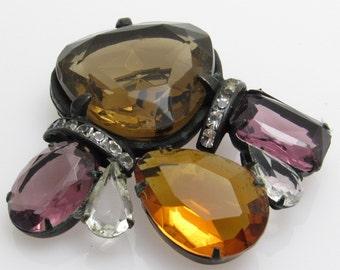 Large Rhinestone Brooch Vintage Glass Jewelry P7603