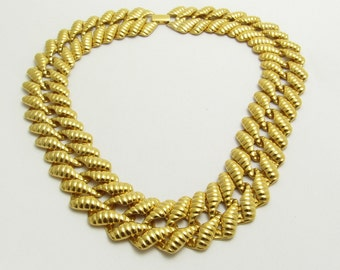 Wide Napier Collar Flat Necklace Vintage Jewelry N7640