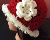 New crocheted hat with fun fur