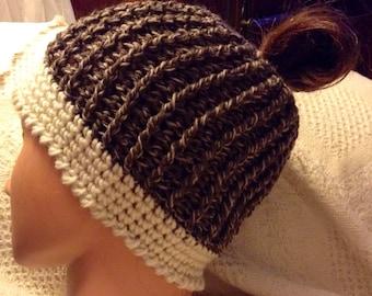 New crocheted Messy Bun Ponytail Hat