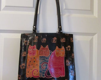 Nice black leather lined Laurel Burch leather purse or tote with a three cat motif on each side; cat design purse; handbag