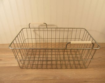 Vintage metal basket with handles, locker basket, garden basket, wire basket