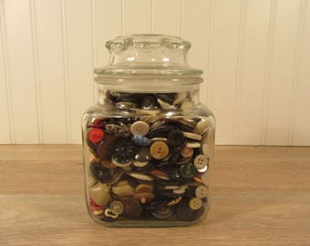 Large glass jar with lid filled with vintage buttons- sewing notions, buttons, crafts, supplies