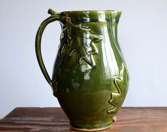 Pitcher ceramic jug, oak leaf acorn, drinks serving, hostess gift, glazed in green, handmade stoneware by hughes pottery