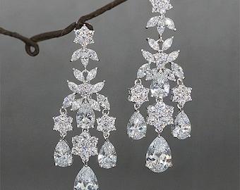 Bridal chandelier earrings Wedding Earrings Rhinestone Earrings Crystal Chandelier Earrings Statement Bridal Jewelry  Zirconia