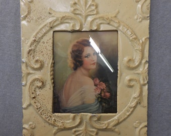 TIN CEILING Butterscotch Picture Frame 8x10 Shabby Recycled chic 541-16