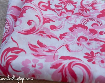 Pretty Pink Floral - Vintage Fabric 60s 70s New Old Stock