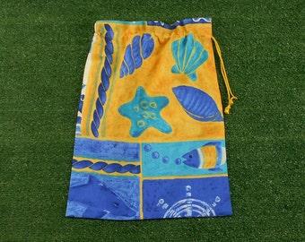 Shells blue & yellow cotton drawstring storage bag, medium size, craft or shoe bag