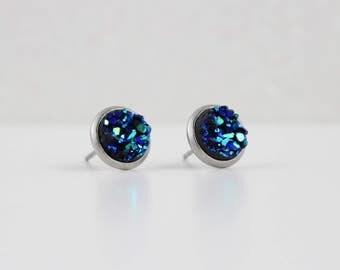Blue Green Metallic Iridescent Opaque Druzy Earrings | ATL-E-157