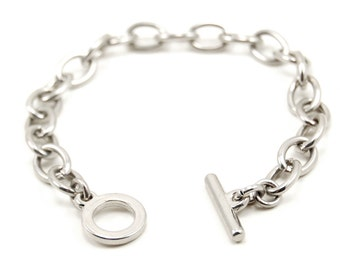 Toggle Chain Bracelet - 7.5 Inches - Nickel Plated / Silver Toned