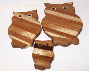 3 Owl Wood Cutting Board Set Handcrafted from Mixed Hardwoods