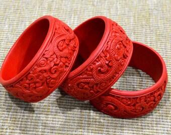 Sale - 6 Vintage Hand Carved Cinnabar Bangle Bracelet Phoenix Dragon