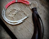 Coral and Shell Tassel Necklace