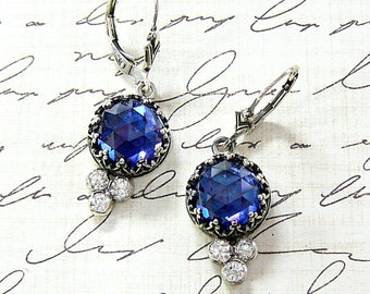 Trixie Earrings - Vintage Inspired Beautiful Gothic Sterling Silver Earrings with Rose cut Blue Sapphire, Heart Bezel and CZ