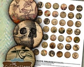 ON SALE Macabre 1 inch Circles, Bottlecap Images, Digital Collage Sheet,  Halloween Images, Images for Cabochons, Vintage Macabre, Macabre I