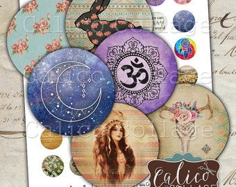 Boho Mix, Boho Collage Sheet, 1 Inch Circles, Bohemian, Bottlecap Images, Native American, Digital Collage, Digital Download