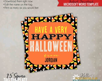 Printable Happy Halloween Candy Corn Tag, Halloween Candy Bag Tag, Printable Instant Download