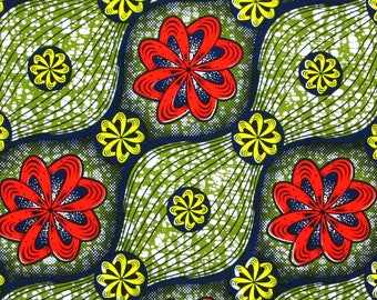 African Fabric 1/2 Yard Cotton GREEN BLUE Red Yellow