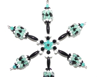 Beaded Snowflake in Sea Green, Black, White like the Philadelphia Eagles or Other Teams or School Colors    #55