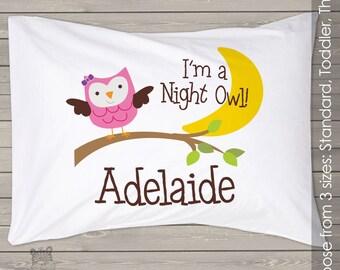 Personalized night owl girls room custom pillowcase PIL-016