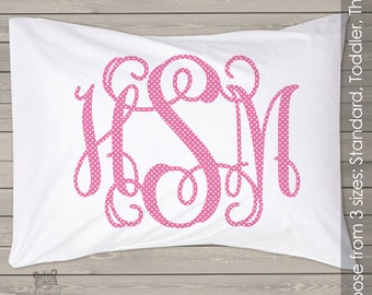 monogram pillowcase polkadot standard size great unique gift Personalized PIL-052