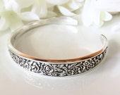 Silver Cuff Bracelet, Silver Bracelet Cuff, Spoon Bracelet, Cuff, Spoon Jewelry - 1969 TANGIER