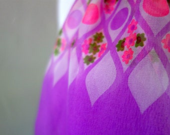 1970s Mod Scarf, Vintage Nylon Chiffon Sheer Long Scarf, Made in Japan, Dayglo or Neon Pink and Orchid Purple Dot, Flower Pattern, Durlacher