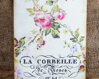 Vintage Style French Pink Rose Floral Gift or Scrapbook Tags or Magnet #187