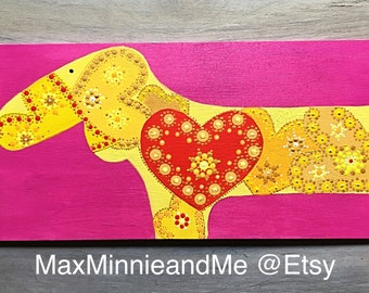 Dachshund Art on Wood Pinks and Yellow Hearts