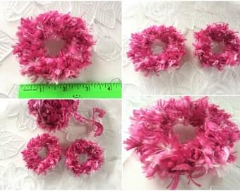 Pink Hair Scrunchies, 2 Crocheted Ponytail Holders, Hair Scrunchies, Crochet Scrunchies, Girls Hair Accessory, 2 Scrunchies