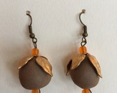 Small drop earrings with gold leaf wrap