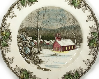 "Vintage Johnson Bros. Dinner Plate, ""The School House - The Friendly Village"", Multi-Color Tinted, Fluted Rim, Leaf Border"