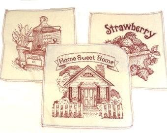 "Printed Redwork-Style 8 1/2"" Quilt Blocks, Vintage Screenprinted Quilt Squares, Set of 3 Quilt Block Appliques"