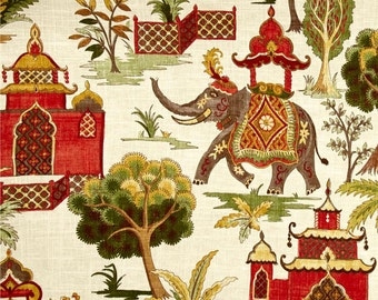 """Green Red Curtains, Elephant Window Curtains, Boho Curtains, Bohemian Home Decor, Red Green Trendy Curtains, Rod-Pocket, One Pair 50""""W"""