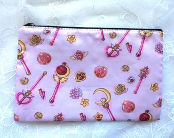 Magical Girl Compacts and Wands Zippered Bag Pouch
