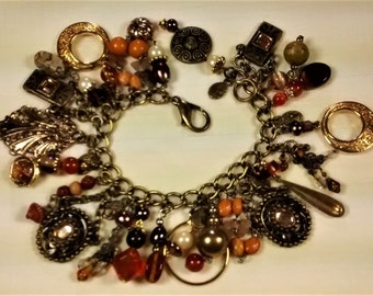 MJ-111 Bronze and Earth Tones Charm Bracelet