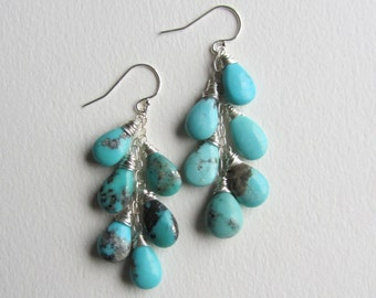 Turquoise Earrings with Sterling Silver - Boho Colorful Summer Jewelry - Made in Seattle - Blue Jewelry - Natural Gemstone with Pyrite