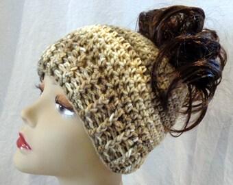 Crochet Messy Bun Hat or Slouch Hat