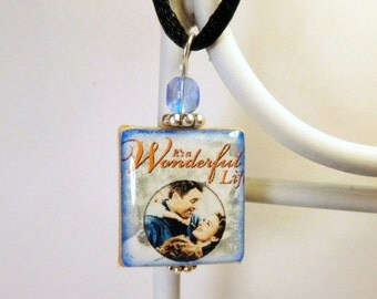 It's A Wonderful Life Scrabble Pendant / Necklace with Satin Cord / Beaded Charm / Christmas / Stocking Stuffer