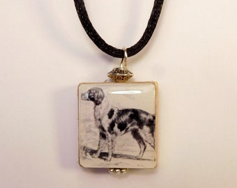 BRITTANY Jewelry - SCRABBLE Pendant / Handmade Unusual Dog Gifts / Necklace with Satin Cord