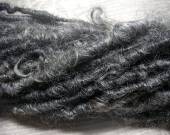 RESERVED for L---Handspun Corespun Super Bulky Gotland Wool Yarn in Natural Colors of Charcoal Grey by KnoxFarmFiber for Knit Felt Weave