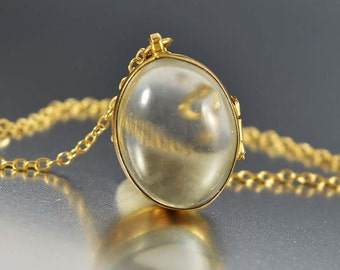 Pools of Light Locket Pendant Necklace, Rock Crystal Gold Locket, Bubble Locket, Quartz Crystal Locket, Victorian Locket, Antique Locket