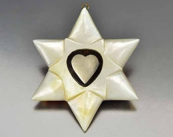Antique Sterling Silver Heart Star Pendant, Hand Carved Mother of Pearl Faux Tortoise Shell Necklace Pendant, 1850s Victorian Jewelry