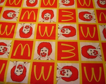 Ronald Mcdonald Fabric, OOP, 2006, Rare, Golden Arches, Quilting, Bags, Pillows, Two Yards