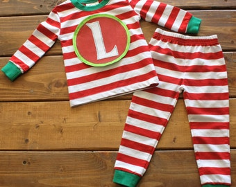 Christmas Pajamas, Kids Christmas Pajamas, Monogram Shirt, Striped Pajamas, Family Pajamas, Personalized Pajamas, Family Photos, Santa Visit