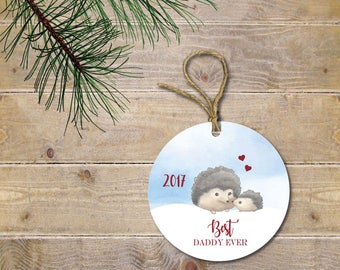 Baby's First Christmas Ornament, Hedgehog Ornament, Woodland Ornament, Baby Shower Gift, New Dad, First Christmas as Daddy, New Father Gift