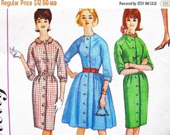 SALE 25% Off 1960s Dress Pattern Misses size 12 Ladies Shirt Dress Pattern with Full Skirt or Slim Skirt Vintage Sewing Pattern for Women