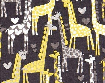 169493 dark grey Michael Miller fabric Giraffe Love heart yellow