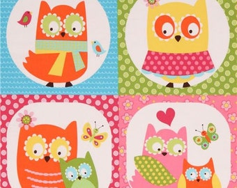 206256 colorful owl square fabric Whooo Loves You